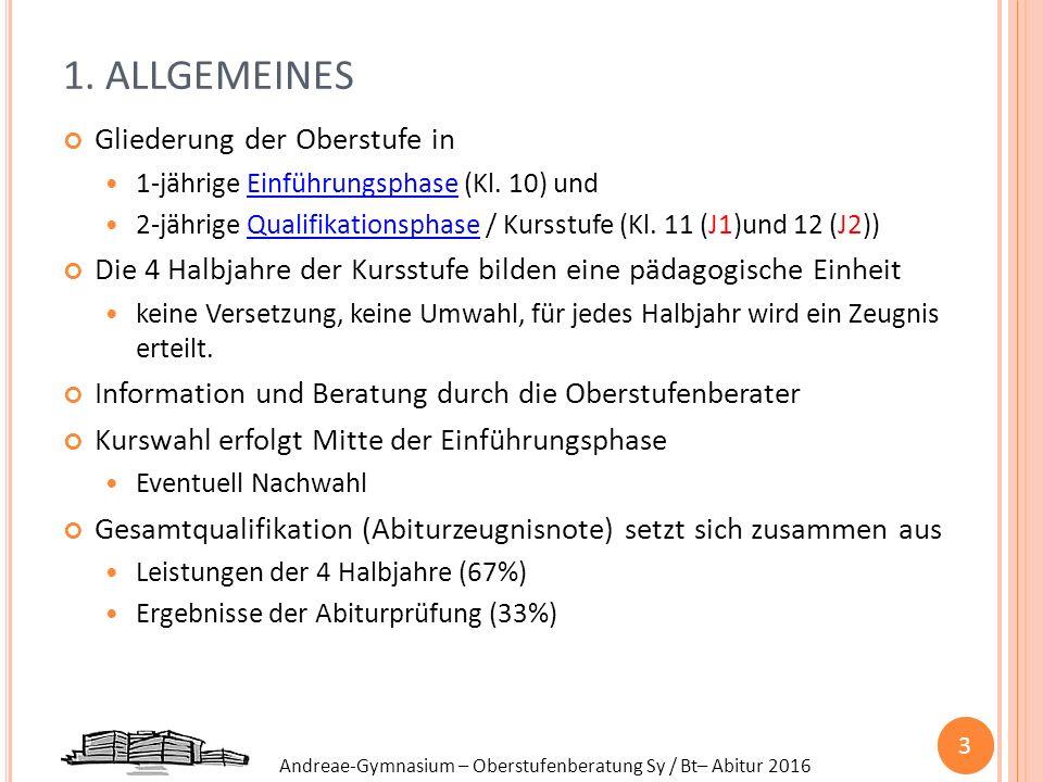 Andreae-Gymnasium – Oberstufenberatung Sy / Bt– Abitur 2016 1. ALLGEMEINES Gliederung der Oberstufe in 1-jährige Einführungsphase (Kl. 10) und 2-jähri