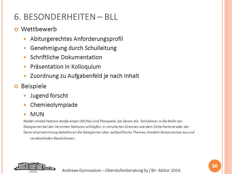 Andreae-Gymnasium – Oberstufenberatung Sy / Bt– Abitur 2016 6. BESONDERHEITEN – BLL Wettbewerb Abiturgerechtes Anforderungsprofil Genehmigung durch Sc