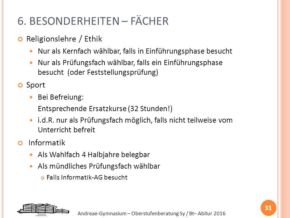 Andreae-Gymnasium – Oberstufenberatung Sy / Bt– Abitur 2016 6. BESONDERHEITEN – FÄCHER Religionslehre / Ethik Nur als Kernfach wählbar, falls in Einfü