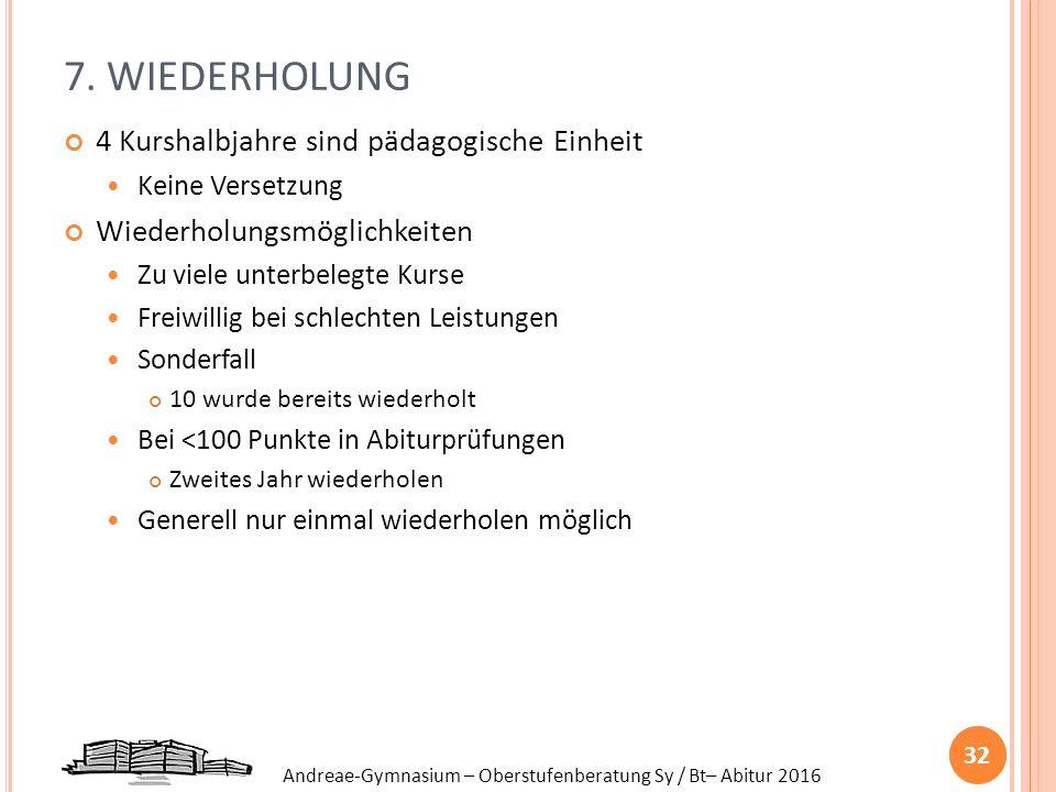 Andreae-Gymnasium – Oberstufenberatung Sy / Bt– Abitur 2016 7. WIEDERHOLUNG 4 Kurshalbjahre sind pädagogische Einheit Keine Versetzung Wiederholungsmö
