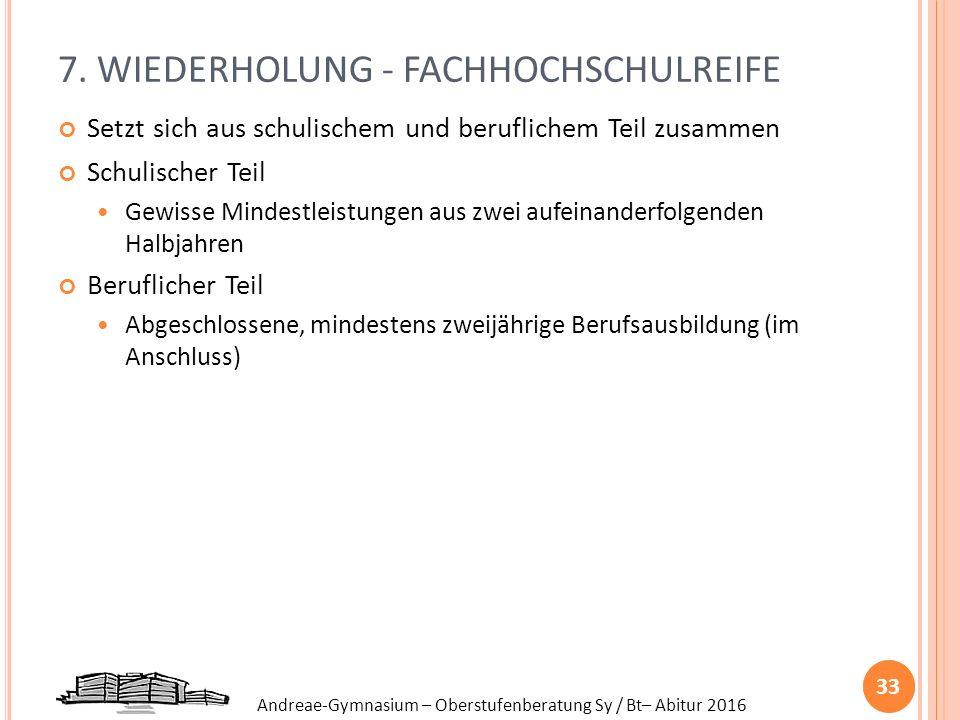 Andreae-Gymnasium – Oberstufenberatung Sy / Bt– Abitur 2016 7. WIEDERHOLUNG - FACHHOCHSCHULREIFE Setzt sich aus schulischem und beruflichem Teil zusam