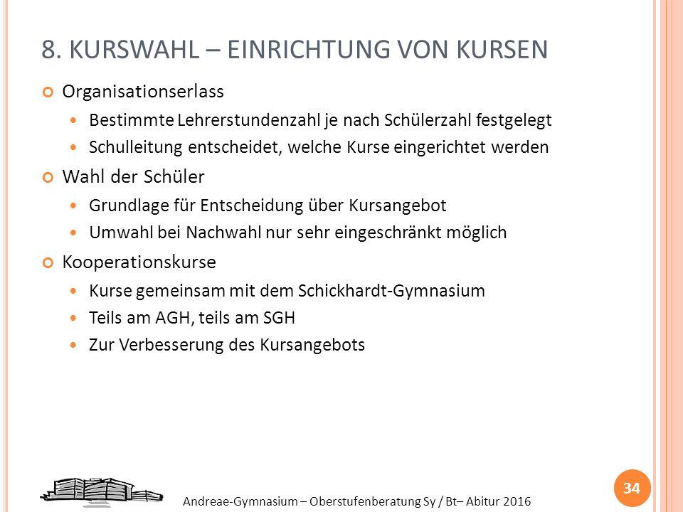 Andreae-Gymnasium – Oberstufenberatung Sy / Bt– Abitur 2016 8. KURSWAHL – EINRICHTUNG VON KURSEN Organisationserlass Bestimmte Lehrerstundenzahl je na