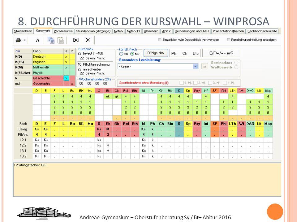 Andreae-Gymnasium – Oberstufenberatung Sy / Bt– Abitur 2016 8. DURCHFÜHRUNG DER KURSWAHL – WINPROSA