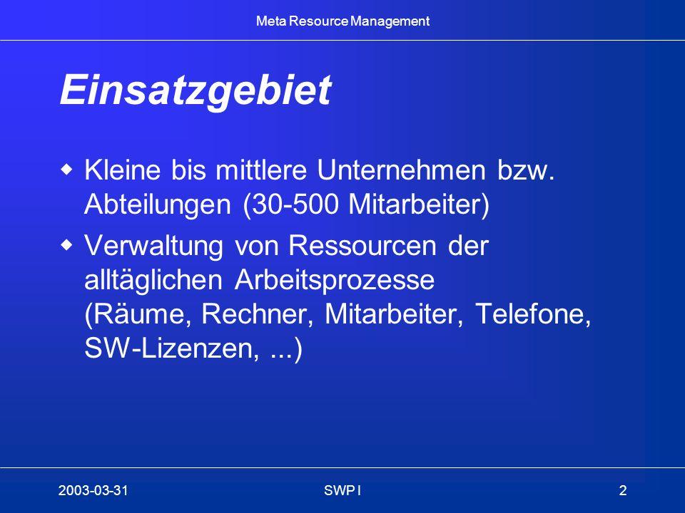 Meta Resource Management 2003-03-31SWP I3 Herausforderung Dezentrale Verwaltung von Ressourcen Verwendung von Papier oder Excel Datenkonsistenz nicht gewährleistet Prozesse nicht oder nur informell definiert