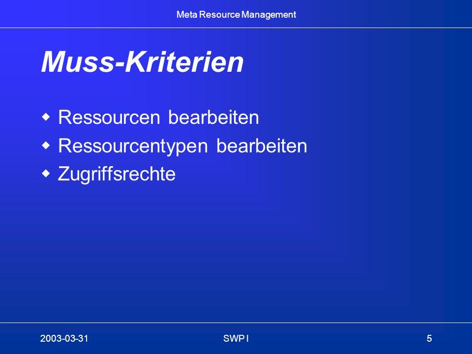 Meta Resource Management 2003-03-31SWP I5 Muss-Kriterien Ressourcen bearbeiten Ressourcentypen bearbeiten Zugriffsrechte