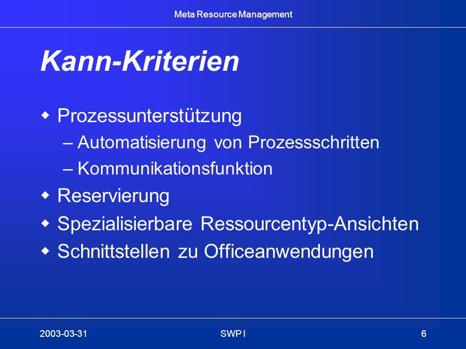Meta Resource Management 2003-03-31SWP I6 Kann-Kriterien Prozessunterstützung –Automatisierung von Prozessschritten –Kommunikationsfunktion Reservierung Spezialisierbare Ressourcentyp-Ansichten Schnittstellen zu Officeanwendungen