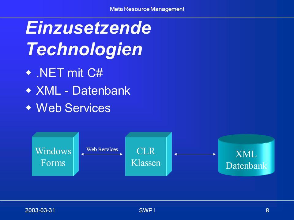 Meta Resource Management 2003-03-31SWP I9 Machbarkeit Umfang der Muss-Kriterien scheint erfüllbar Aufwand für die Einarbeitung in die einzusetzenden Technologien ist noch zu evaluieren –Falls Aufwand zu hoch, Verwendung bereits bekannter Technologien (SQL, J2EE, Struts)