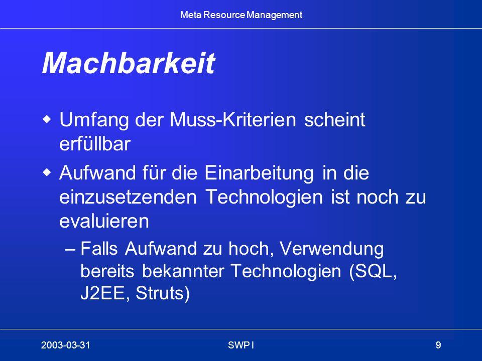 Meta Resource Management 2003-03-31SWP I9 Machbarkeit Umfang der Muss-Kriterien scheint erfüllbar Aufwand für die Einarbeitung in die einzusetzenden T