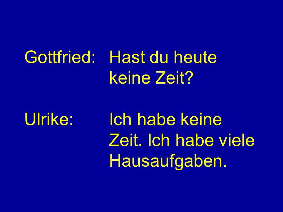 Gottfried:Hast du heute keine Zeit Ulrike:Ich habe keine Zeit. Ich habe viele Hausaufgaben.