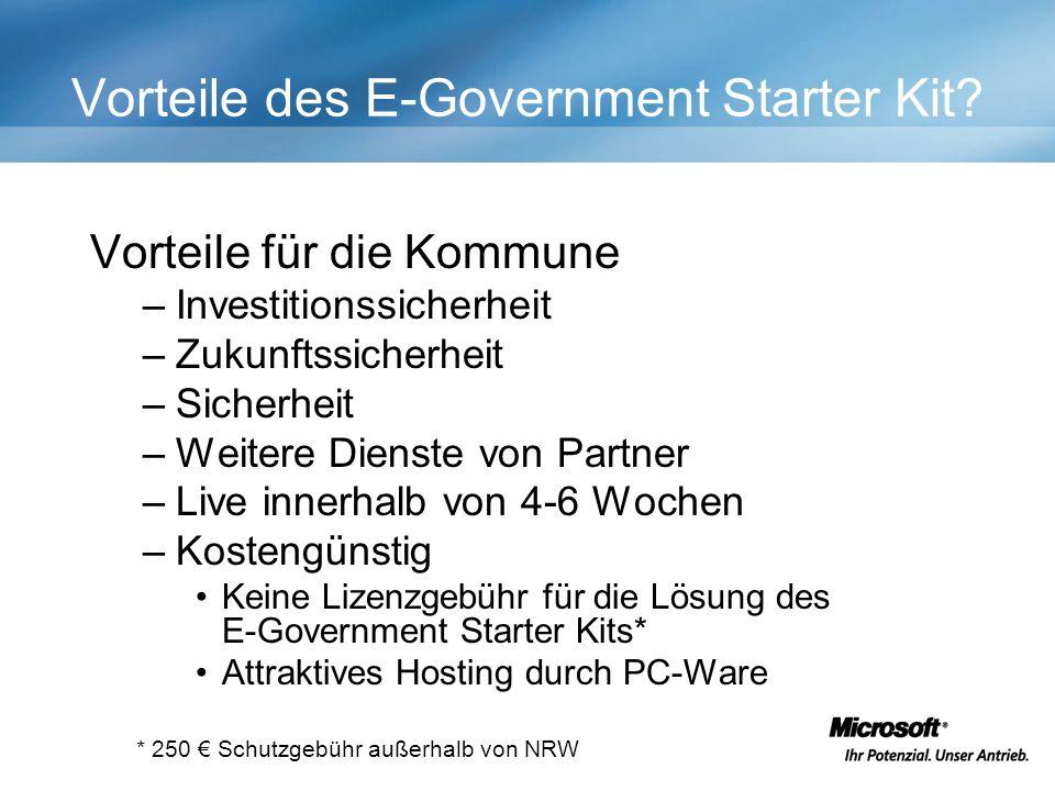 Vorteile des E-Government Starter Kit.