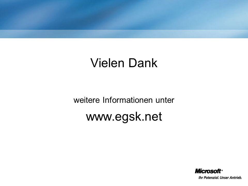 Vielen Dank weitere Informationen unter www.egsk.net