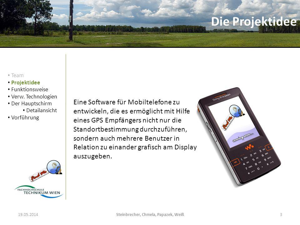 19.05.2014Steinbrecher, Chmela, Papazek, Weiß3 Eine Software für Mobiltelefone zu entwickeln, die es ermöglicht mit Hilfe eines GPS Empfängers nicht n