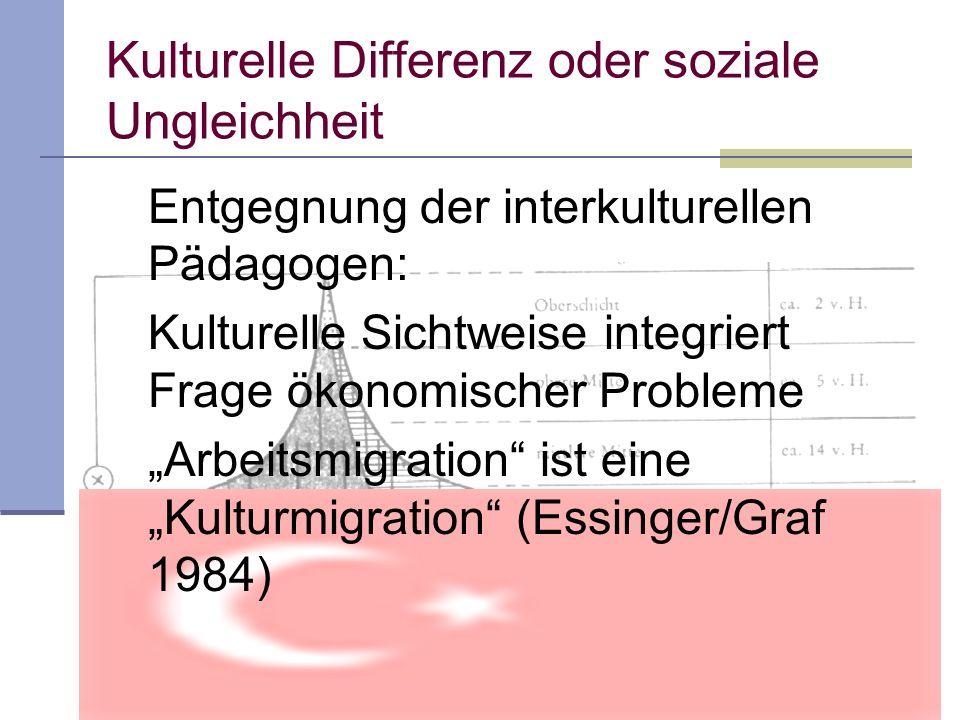 Kulturelle Differenz oder soziale Ungleichheit Entgegnung der interkulturellen Pädagogen: Kulturelle Sichtweise integriert Frage ökonomischer Probleme Arbeitsmigration ist eine Kulturmigration (Essinger/Graf 1984)