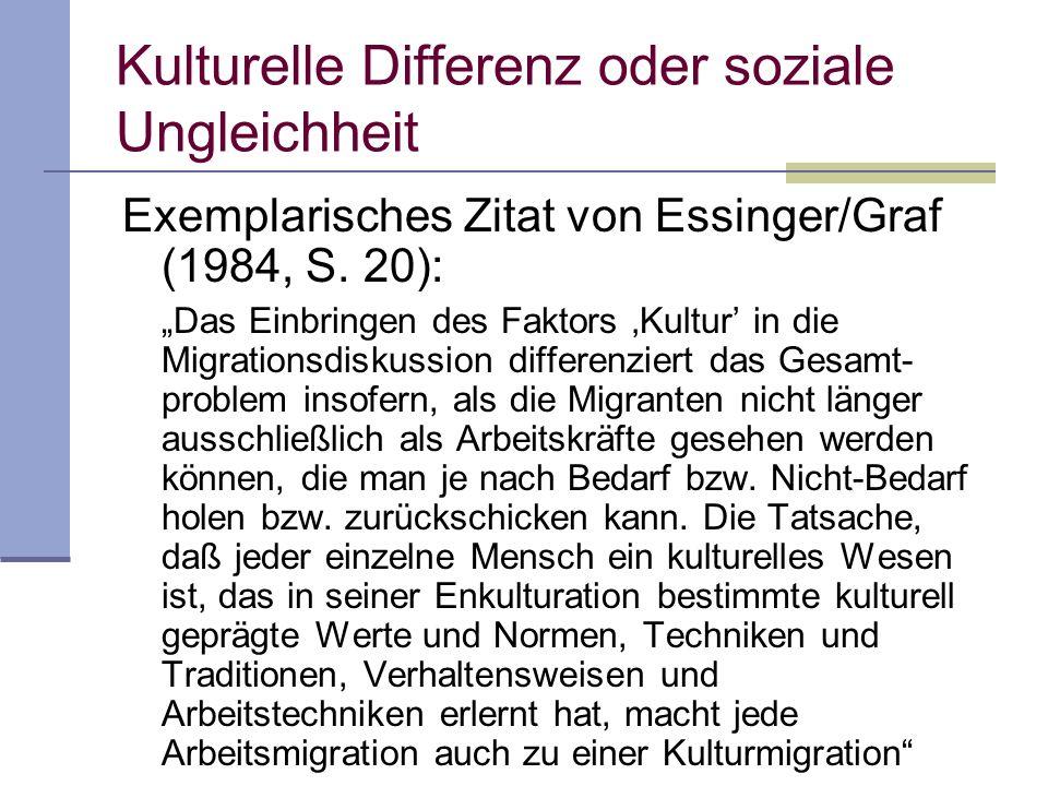 Kulturelle Differenz oder soziale Ungleichheit Exemplarisches Zitat von Essinger/Graf (1984, S.