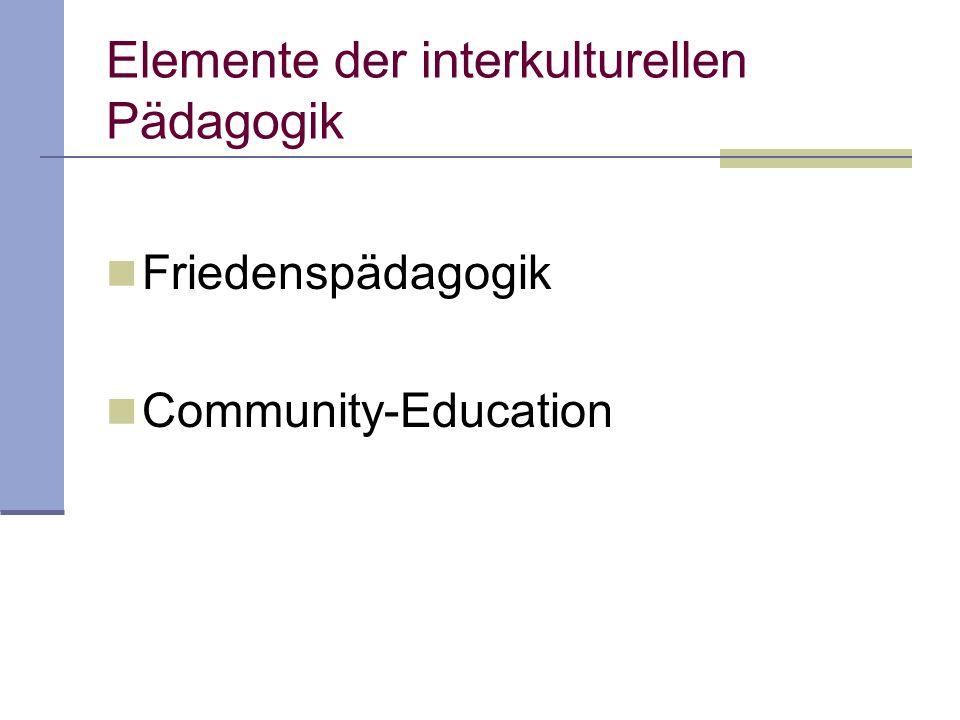 Interkulturelle Pädagogik u nd Community-Education Es geht um communities im multi- ethnischen Aufnahmestaat (samt ihrer Geschichte, ihrer Rückbindung zur Herkunft, ihrer sozialen Lage) (Hohmann 1989, S.