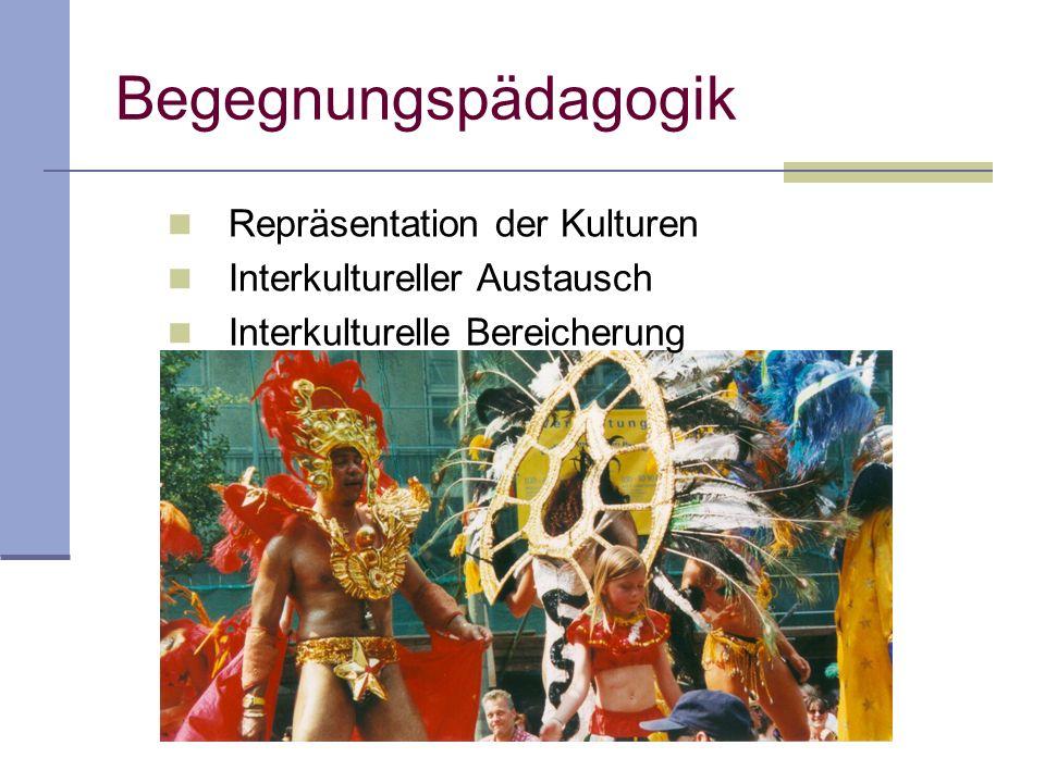 Begegnungspädagogik Repräsentation der Kulturen Interkultureller Austausch Interkulturelle Bereicherung