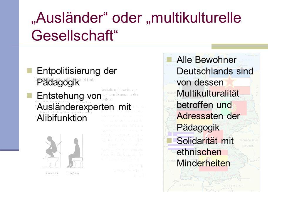 Alle Bewohner Deutschlands sind von dessen Multikulturalität betroffen und Adressaten der Pädagogik Solidarität mit ethnischen Minderheiten Entpolitisierung der Pädagogik Entstehung von Ausländerexperten mit Alibifunktion