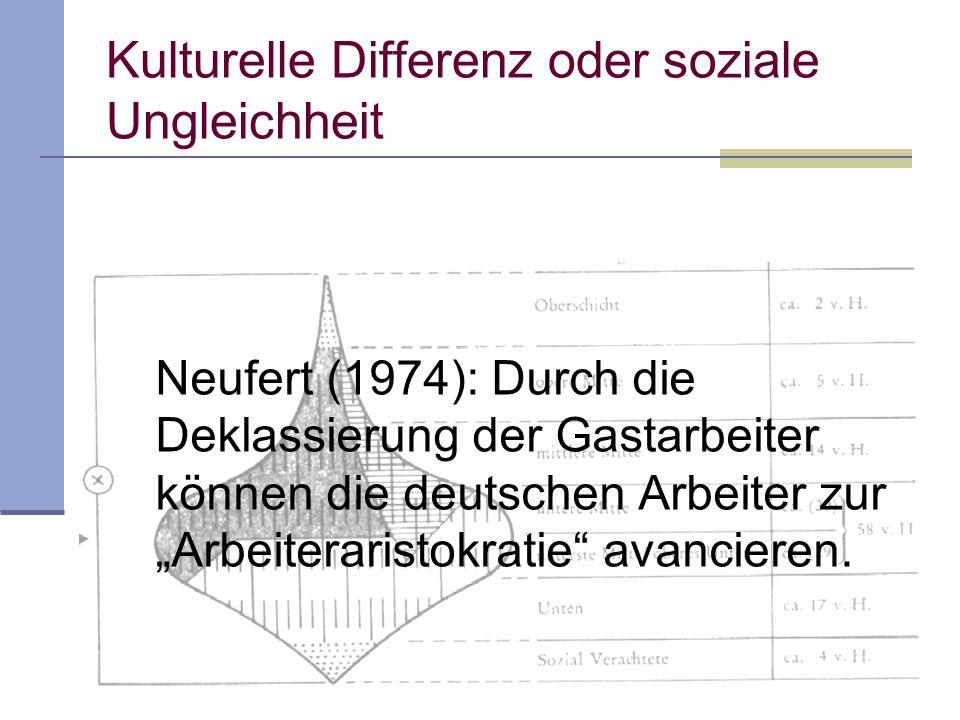 Kulturelle Differenz oder soziale Ungleichheit Neufert (1974): Durch die Deklassierung der Gastarbeiter können die deutschen Arbeiter zur Arbeiteraristokratie avancieren.