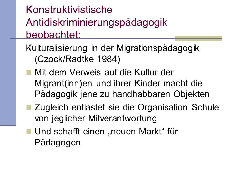 Konstruktivistische Antidiskriminierungspädagogik beobachtet: Kulturalisierung in der Migrationspädagogik (Czock/Radtke 1984) Mit dem Verweis auf die