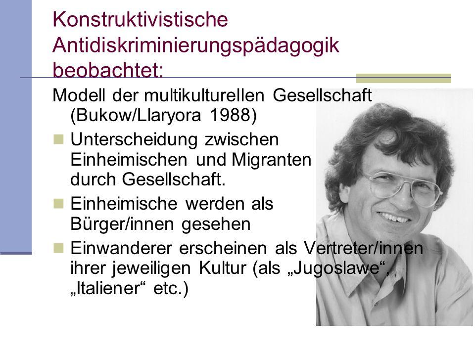 Konstruktivistische Antidiskriminierungspädagogik beobachtet: Modell der multikulturellen Gesellschaft (Bukow/Llaryora 1988) Unterscheidung zwischen E