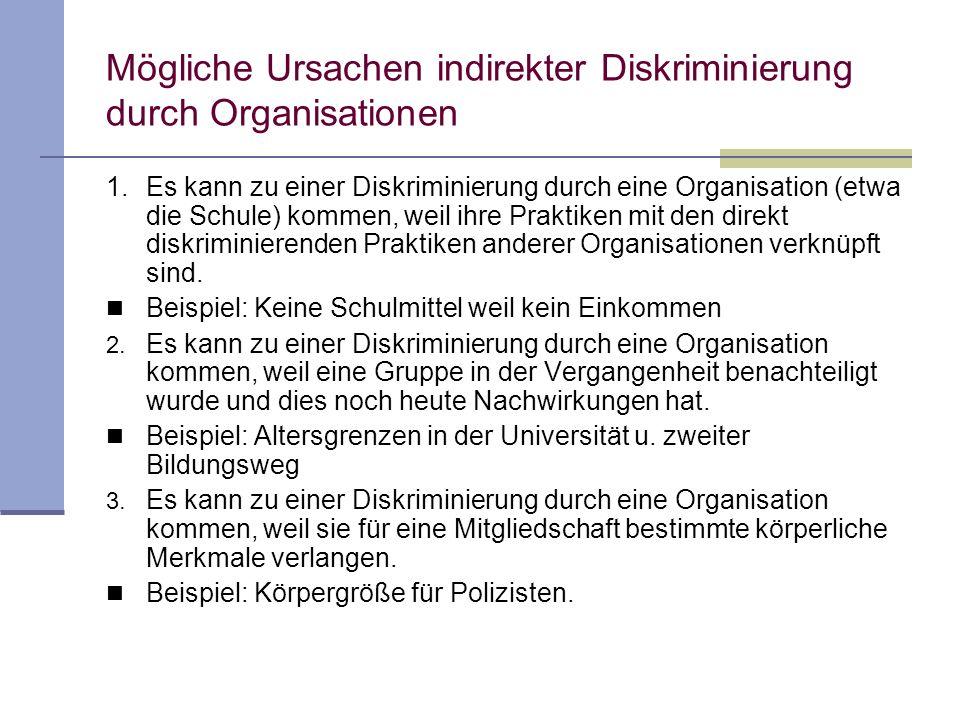 Mögliche Ursachen indirekter Diskriminierung durch Organisationen 1. Es kann zu einer Diskriminierung durch eine Organisation (etwa die Schule) kommen