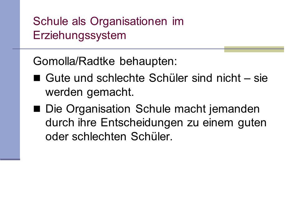 Schule als Organisationen im Erziehungssystem Gomolla/Radtke behaupten: Gute und schlechte Schüler sind nicht – sie werden gemacht. Die Organisation S