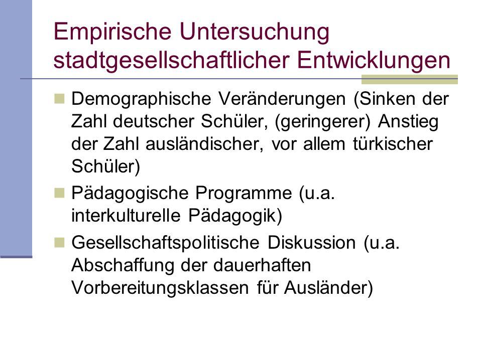 Empirische Untersuchung stadtgesellschaftlicher Entwicklungen Demographische Veränderungen (Sinken der Zahl deutscher Schüler, (geringerer) Anstieg de