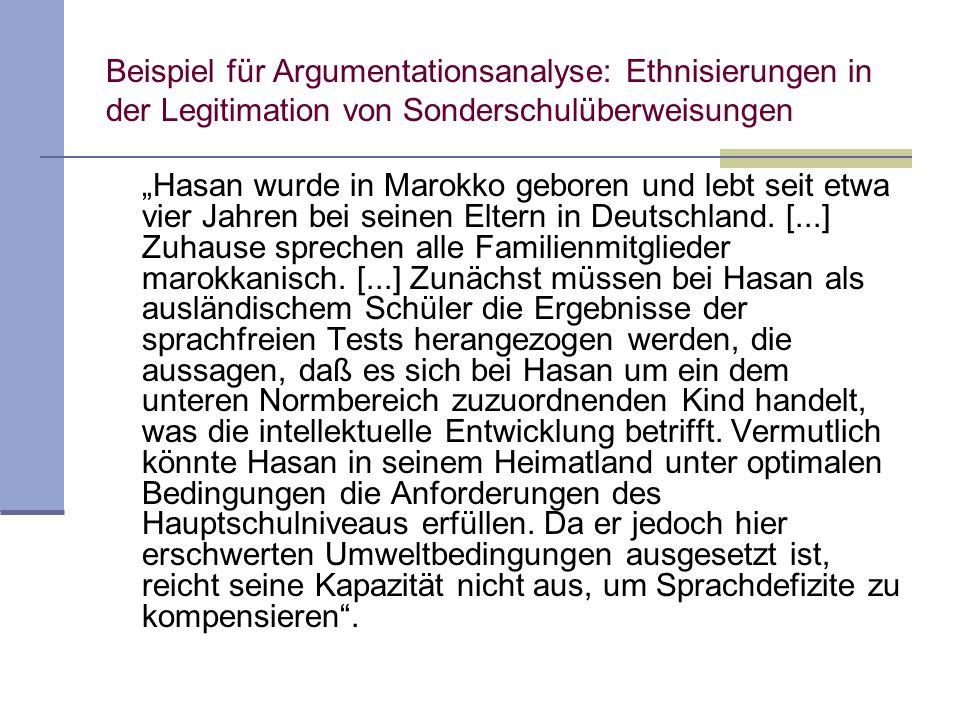 Beispiel für Argumentationsanalyse: Ethnisierungen in der Legitimation von Sonderschulüberweisungen Hasan wurde in Marokko geboren und lebt seit etwa