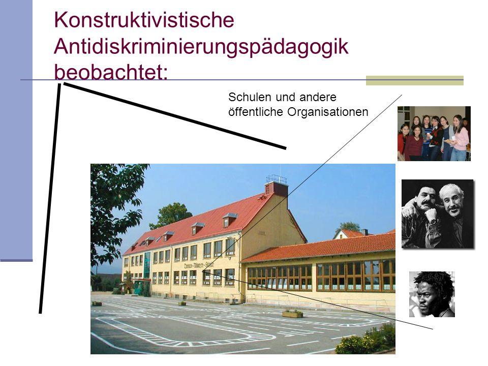 Konstruktivistische Antidiskriminierungspädagogik beobachtet: Schulen und andere öffentliche Organisationen
