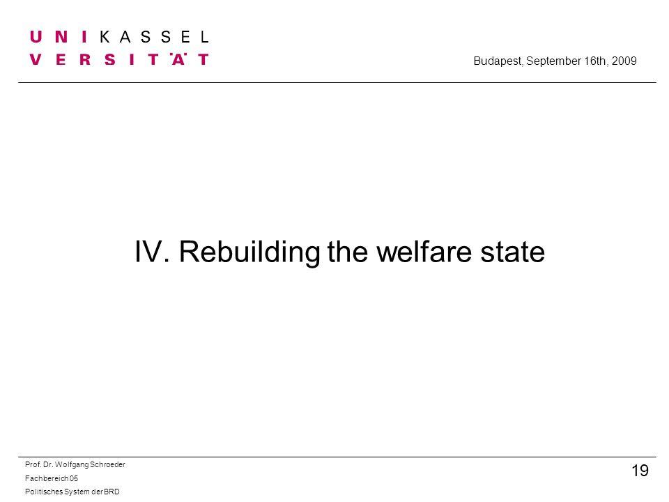 IV. Rebuilding the welfare state Prof. Dr. Wolfgang Schroeder Fachbereich 05 Politisches System der BRD 19 Budapest, September 16th, 2009