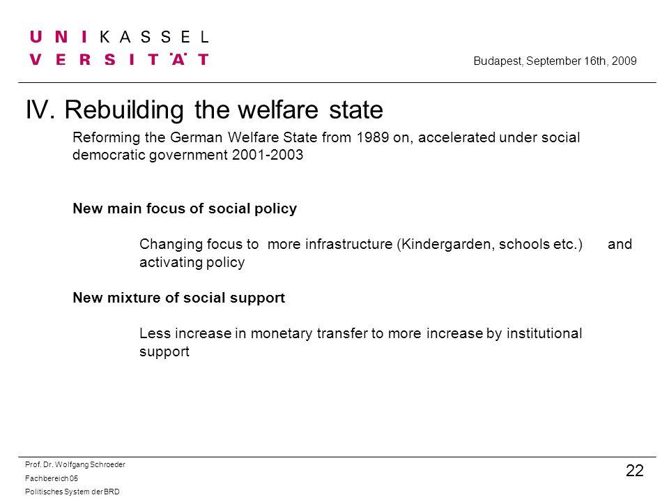 IV. Rebuilding the welfare state Prof. Dr. Wolfgang Schroeder Fachbereich 05 Politisches System der BRD 22 Budapest, September 16th, 2009 Reforming th