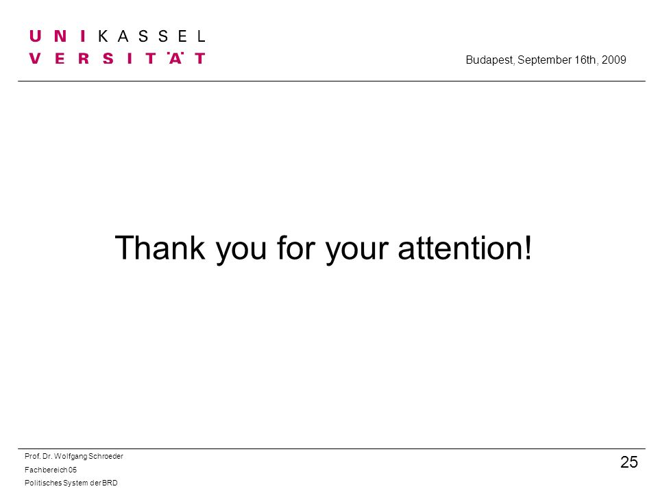 Thank you for your attention.Prof. Dr.