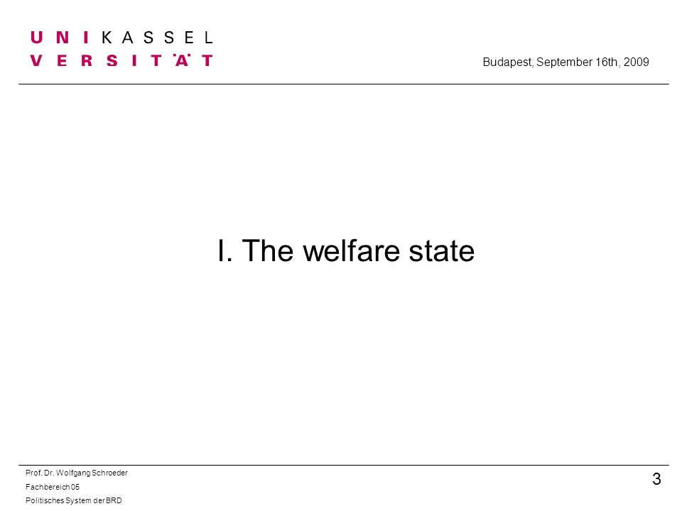 I.The welfare state Prof. Dr.