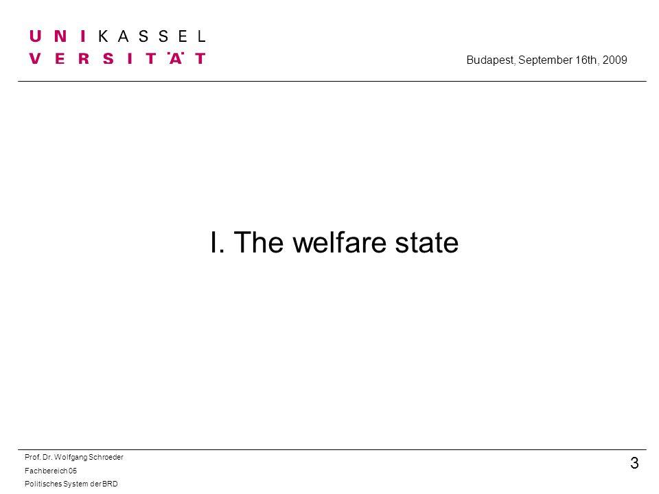 I. The welfare state Prof. Dr. Wolfgang Schroeder Fachbereich 05 Politisches System der BRD 3 Budapest, September 16th, 2009