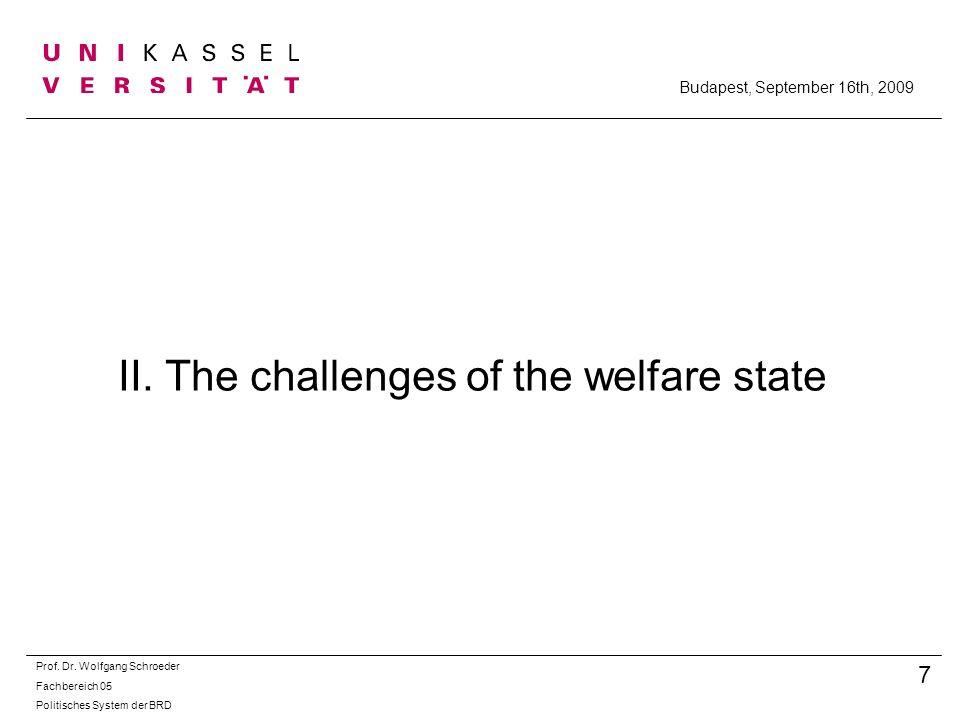 II. The challenges of the welfare state Prof. Dr. Wolfgang Schroeder Fachbereich 05 Politisches System der BRD 7 Budapest, September 16th, 2009
