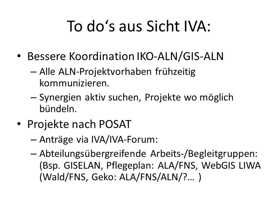 To dos aus Sicht IVA: Bessere Koordination IKO-ALN/GIS-ALN – Alle ALN-Projektvorhaben frühzeitig kommunizieren. – Synergien aktiv suchen, Projekte wo