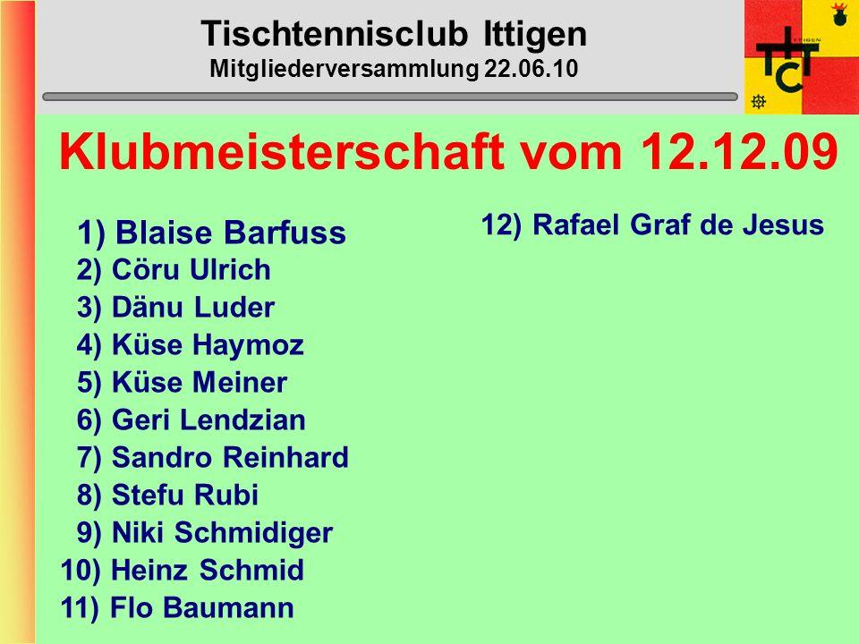 Tischtennisclub Ittigen Mitgliederversammlung 22.06.10 STT-Cup 1.2.Vorrunde:Ittigen – Cernier 3:12