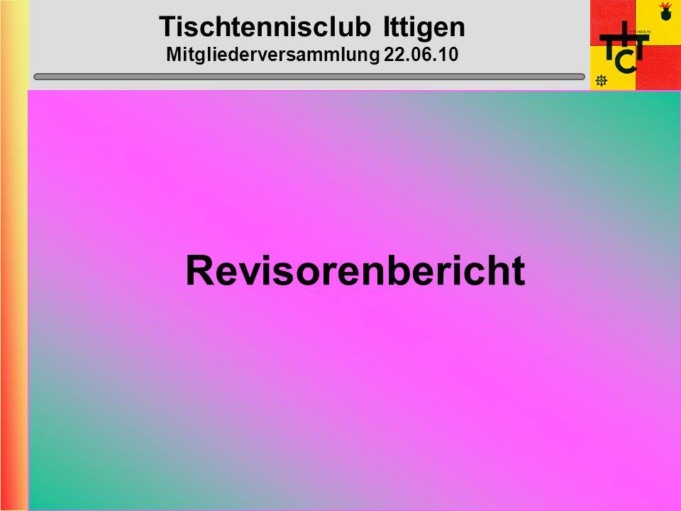 Tischtennisclub Ittigen Mitgliederversammlung 22.06.10 Jahresbericht Kassier