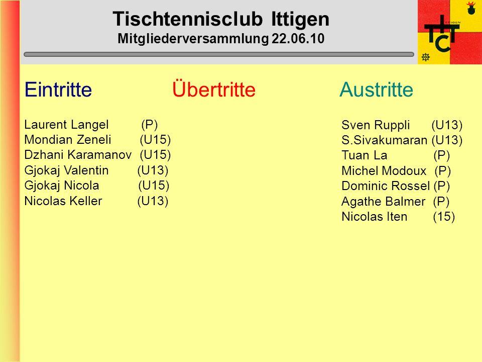 Tischtennisclub Ittigen Mitgliederversammlung 22.06.10 Willkommen zur Mitgliederversammlung 2010 Vom 22. Juni 2010