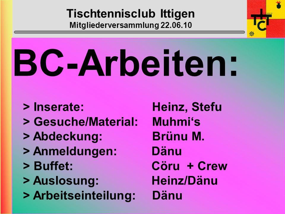 Tischtennisclub Ittigen Mitgliederversammlung 22.06.10 Wahl der übrigen Ämter Revisoren: Webmaster: Nachwuchs: Top-Spin: Bowling: Franz Beat + Iris Lu