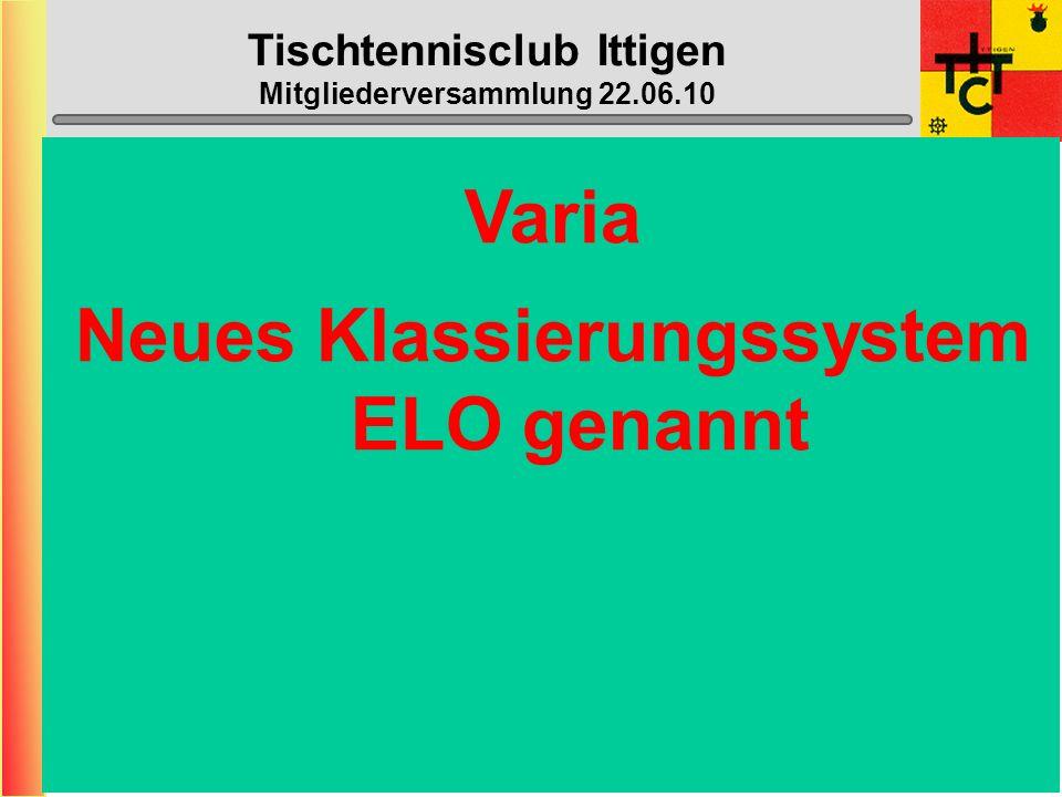 Tischtennisclub Ittigen Mitgliederversammlung 22.06.10 Halle geschlossen: (neu nicht mehr die ganzen Schulferien) - 02. Juli – 08. August (1.T. = Mo 0