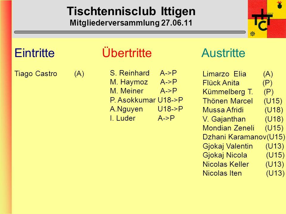 Tischtennisclub Ittigen Mitgliederversammlung 27.06.11 Willkommen zur Mitgliederversammlung 2011 Vom 27.