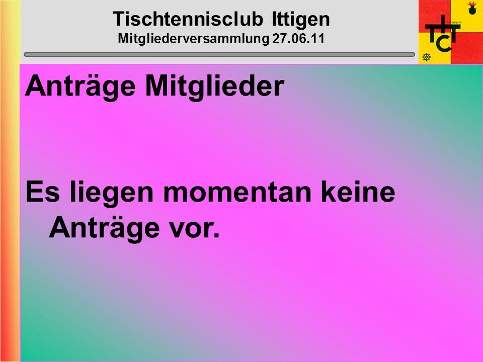 Tischtennisclub Ittigen Mitgliederversammlung 27.06.11 Anträge Vorstand Es liegen momentan keine Anträge vor.