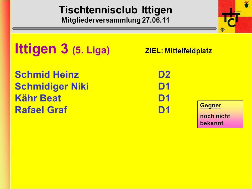 Tischtennisclub Ittigen Mitgliederversammlung 27.06.11 Ittigen 2 (5.