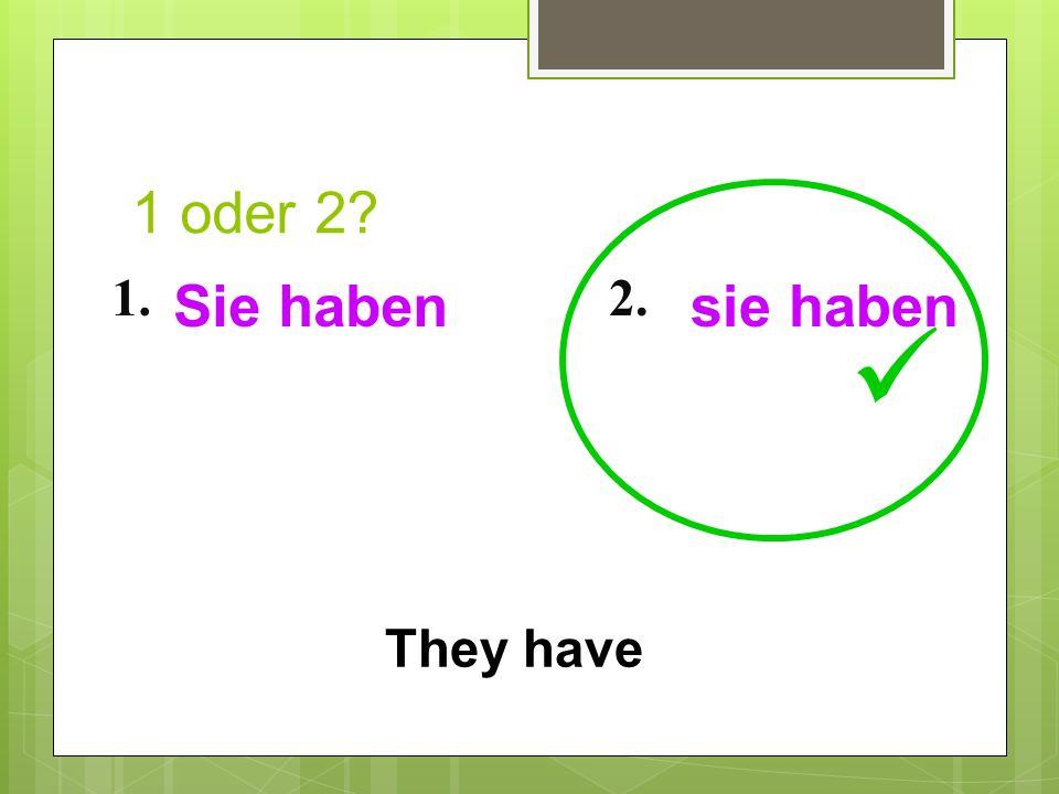 1 oder 2? 1.2. They have Sie habensie haben