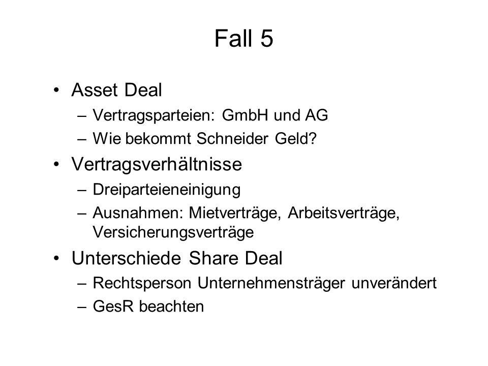 Fall 5 Asset Deal –Vertragsparteien: GmbH und AG –Wie bekommt Schneider Geld? Vertragsverhältnisse –Dreiparteieneinigung –Ausnahmen: Mietverträge, Arb