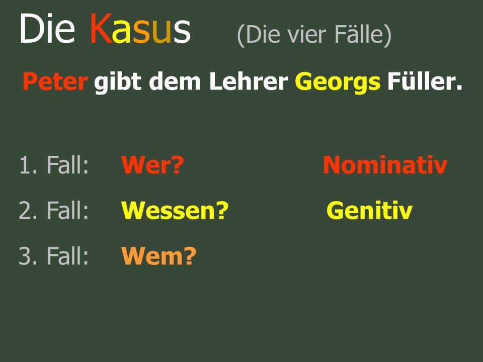 Die Kasus (Die vier Fälle) Peter gibt dem Lehrer Georgs Füller. 1. Fall:Wer?Nominativ 2. Fall:Wessen?Genitiv