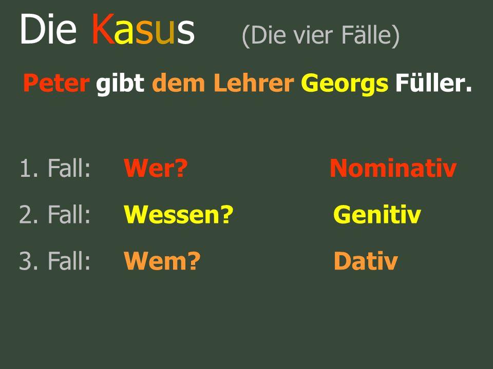 Die Kasus (Die vier Fälle) Peter gibt dem Lehrer Georgs Füller. 1. Fall:Wer?Nominativ 2. Fall:Wessen?Genitiv 3. Fall:Wem?