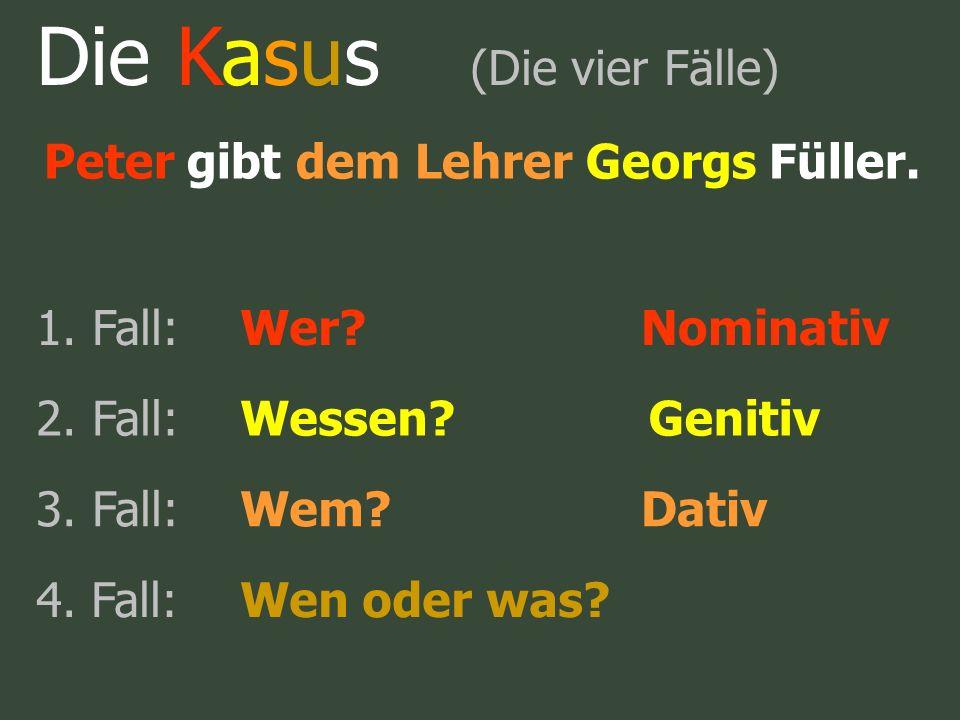 Die Kasus (Die vier Fälle) Peter gibt dem Lehrer Georgs Füller. 1. Fall:Wer?Nominativ 2. Fall:Wessen?Genitiv 3. Fall:Wem?Dativ