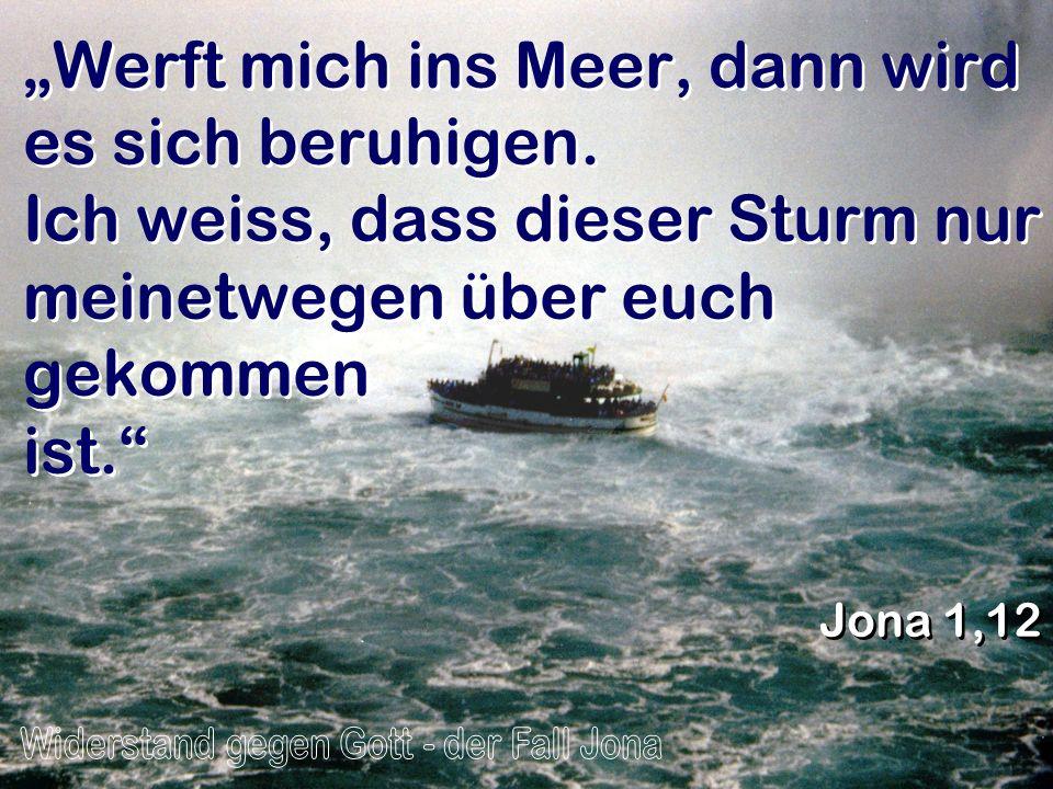 Werft mich ins Meer, dann wird es sich beruhigen. Ich weiss, dass dieser Sturm nur meinetwegen über euch gekommen ist. Jona 1,12